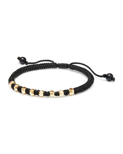 Fortune Men's Woven Bracelet with 18K Gold Beads
