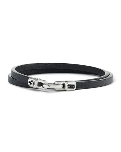 Streamline Leather Double-Wrap Bracelet