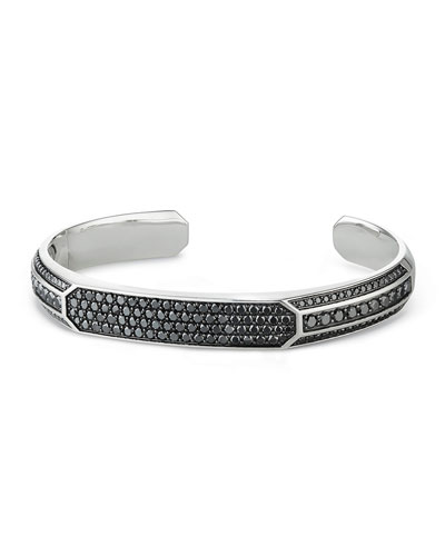 Heirloom Men's Cuff Bracelet with Black Diamonds