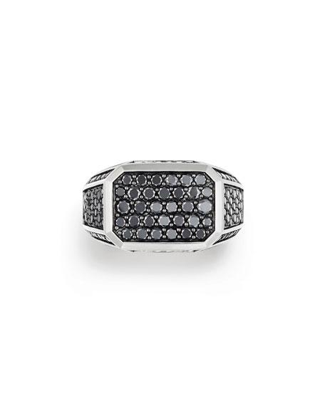 Pave Signet Ring with Black Diamonds