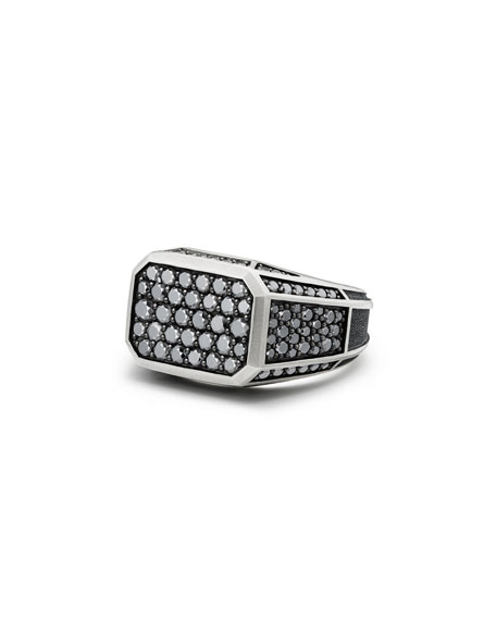 David Yurman Pav?? Signet Ring with Black Diamonds
