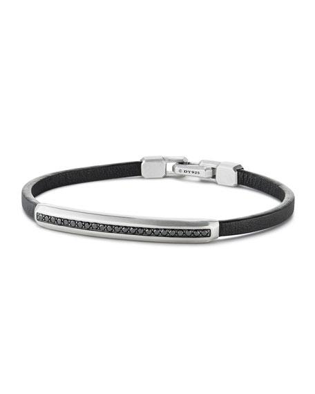 David Yurman Men's Pav?? Leather ID Bracelet with