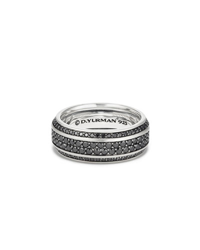 Beveled Edge Band Ring with Black Diamonds