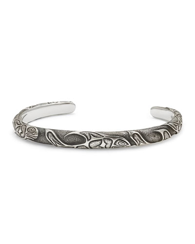 Northwest Fish-Embossed Cuff Bracelet