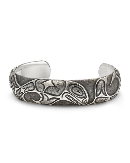 Northwest Fish-Embossed Wide Cuff Bracelet