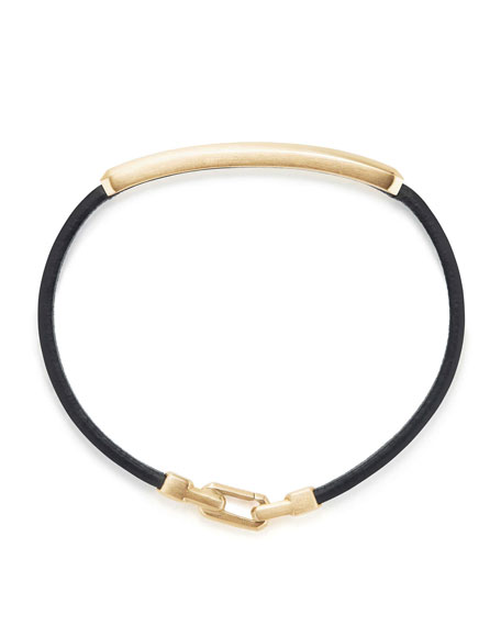 Men's Leather ID Bracelet with 18k Gold