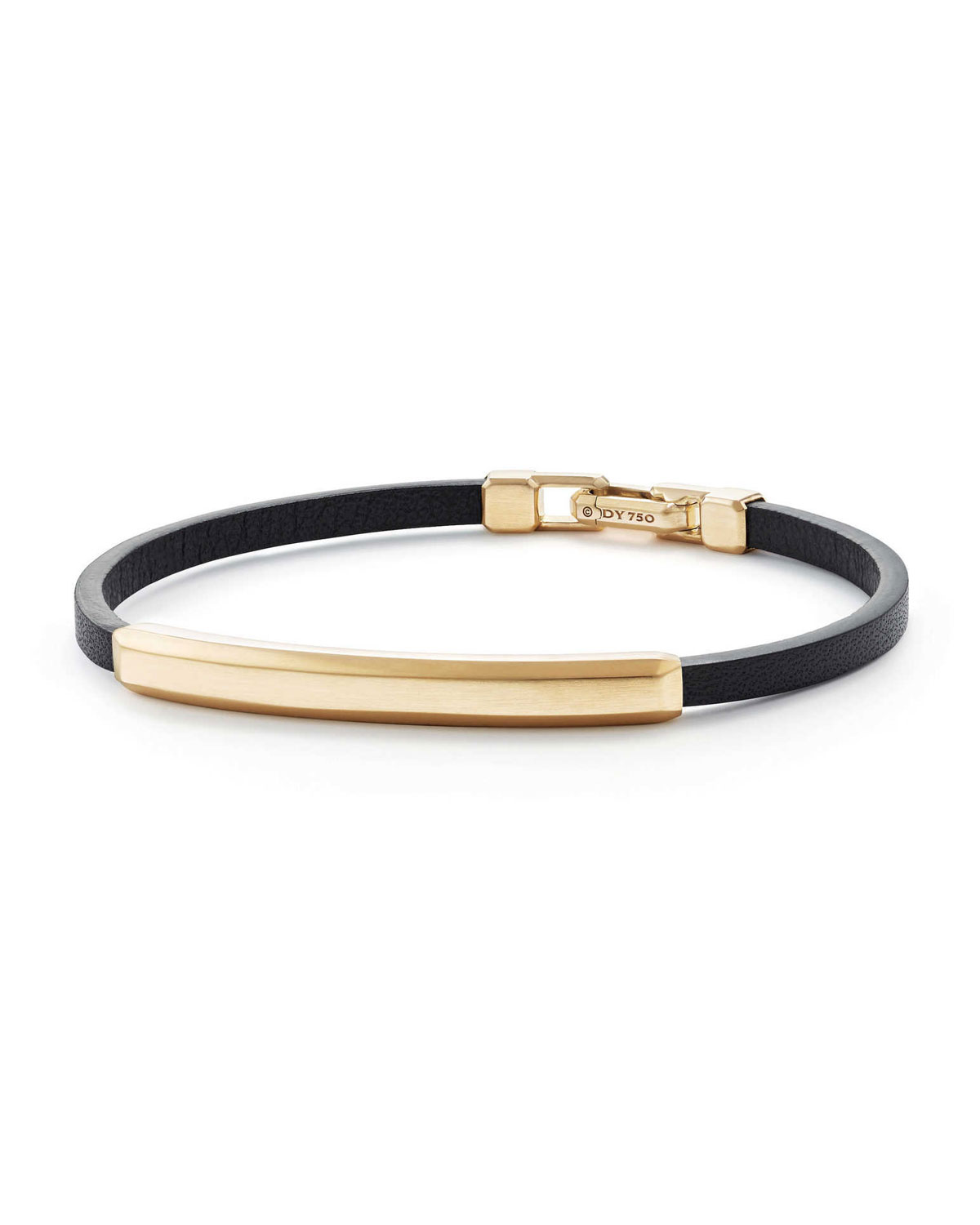 Men S Leather Id Bracelet With 18k Gold