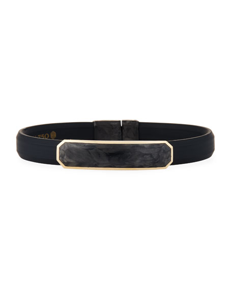 David Yurman Men's Rubber Bracelet with Forged Carbon