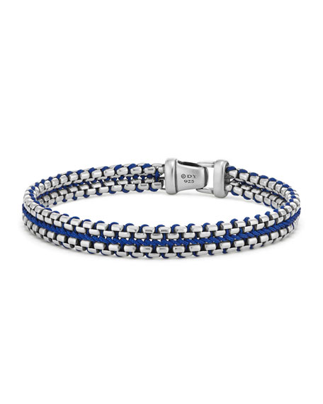 10mm Men's Woven Box Chain Bracelet, Blue