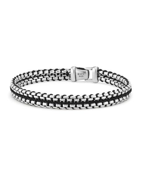 10mm Men's Woven Box Chain Bracelet, Black