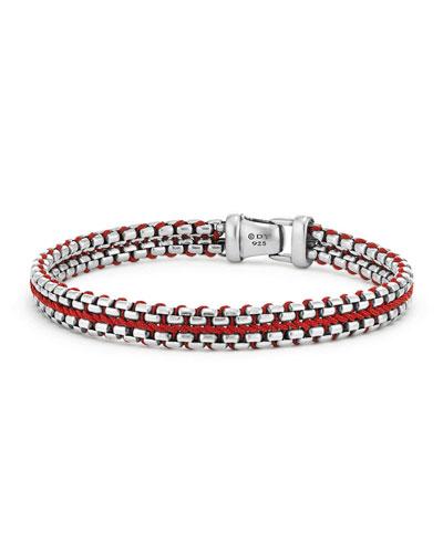10mm Men's Woven Box Chain Bracelet, Red