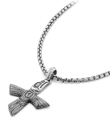 Bird Cross Sterling Silver Pendant