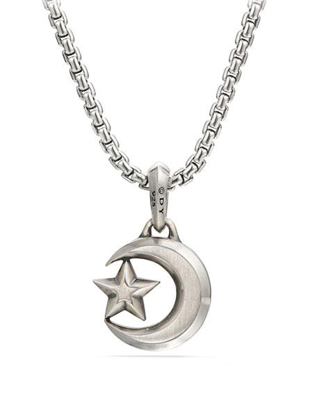 Men's Sterling Silver Gold Star & Crescent Amulet