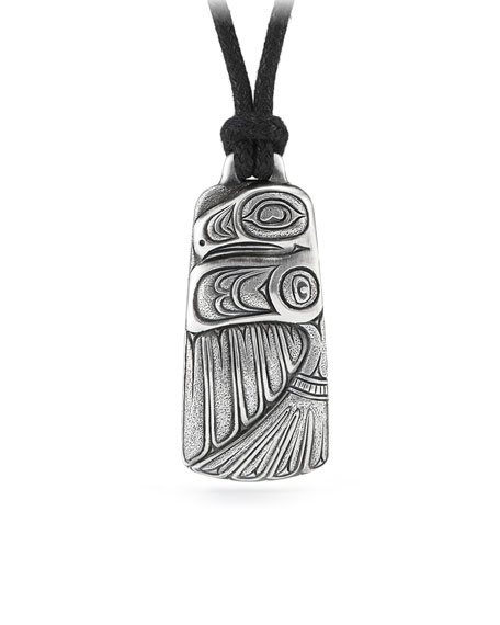 Northwest Embossed Silver Pendant on Leather Cord