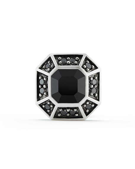 Pave Stud Earring with Black Diamonds