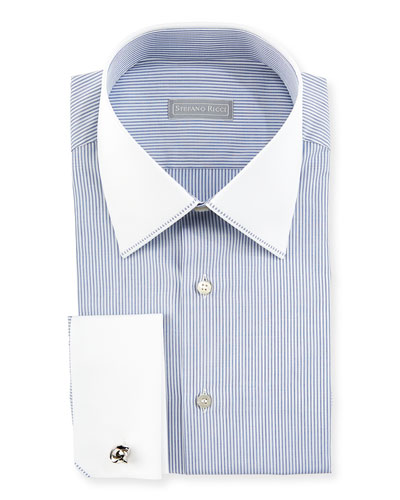 Contrast Collar/Cuff Thin-Striped Dress Shirt, White/Blue