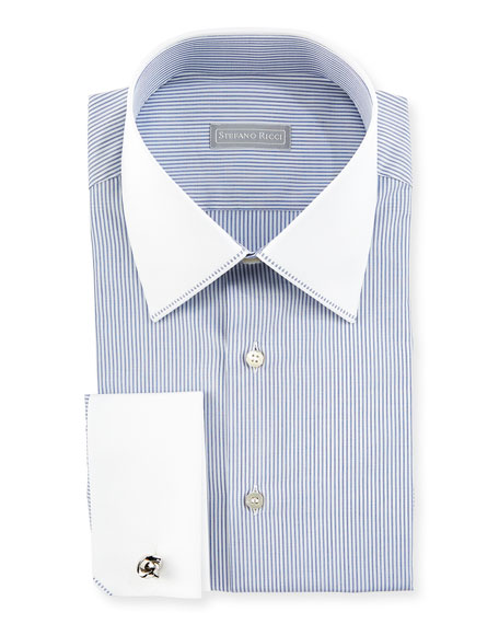 Contrast Collar/Cuff Thin Striped Dress Shirt, White/Blue by Stefano Ricci