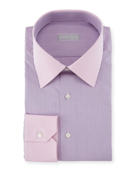 Stefano Ricci Thin Striped Dress Shirt with Contrast