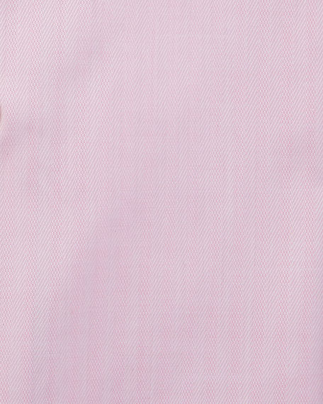 Tonal Herringbone Dress Shirt, Bright Pink