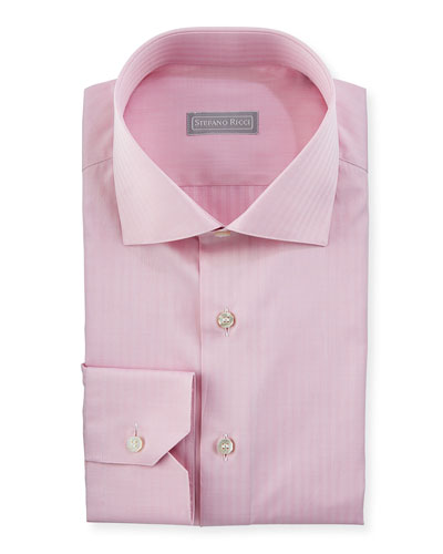 Tonal Herringbone Dress Shirt, Bright Pink