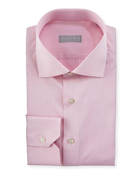 Stefano Ricci Tonal Herringbone Dress Shirt, Bright Pink