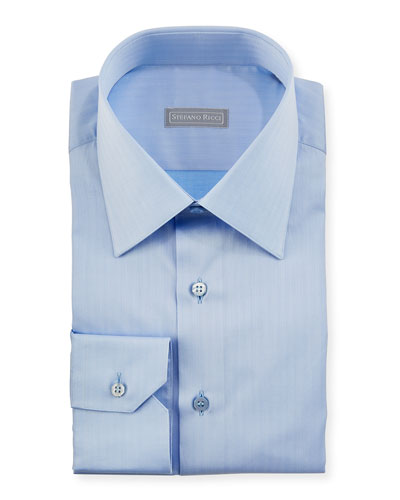 Herringbone Dress Shirt, Light Blue