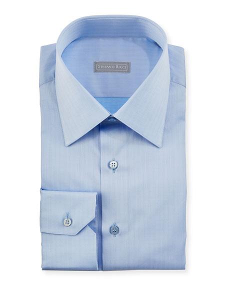 Herringbone Dress Shirt, Light Blue