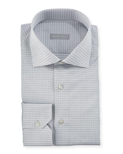 Small-Check Spread-Collar Dress Shirt