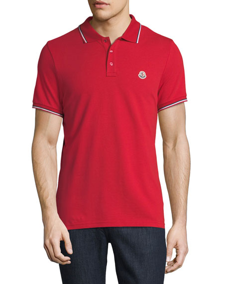 Moncler Classic Pique Patch Polo Shirt