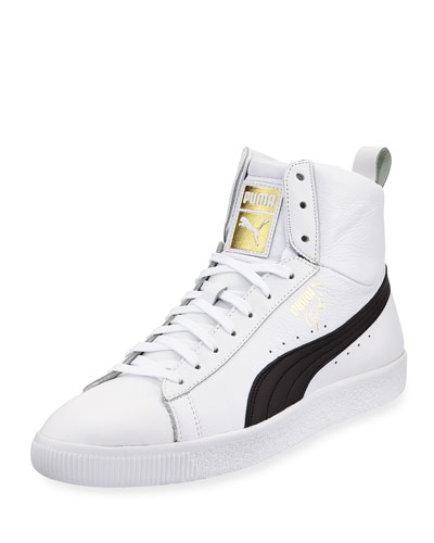 Clyde Mid Core High-Top Leather Sneaker, White/Black