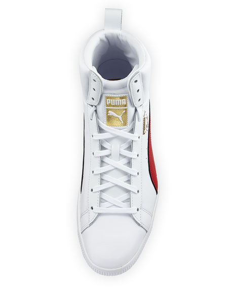 Men's Clyde Mid Core High-Top Leather Sneakers, White/Red