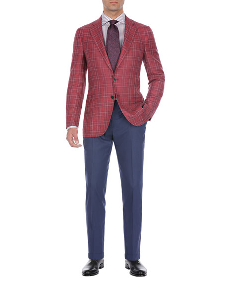 Plaid Wool-Cotton Two-Button Blazer