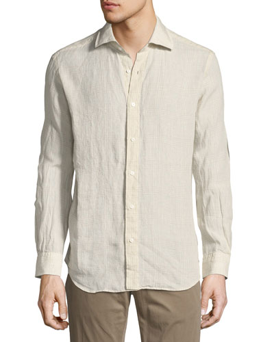 Plaid Linen Sport Shirt