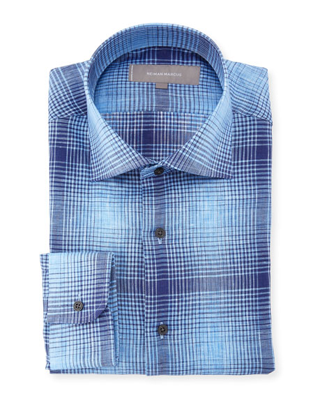 Plaid Linen Dress Shirt