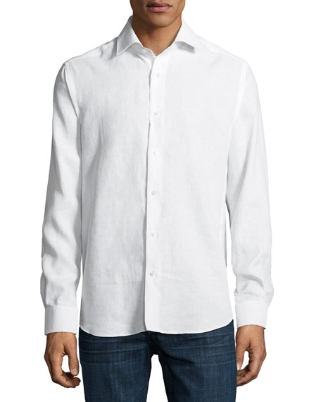 Solid Linen Sport Shirt, White