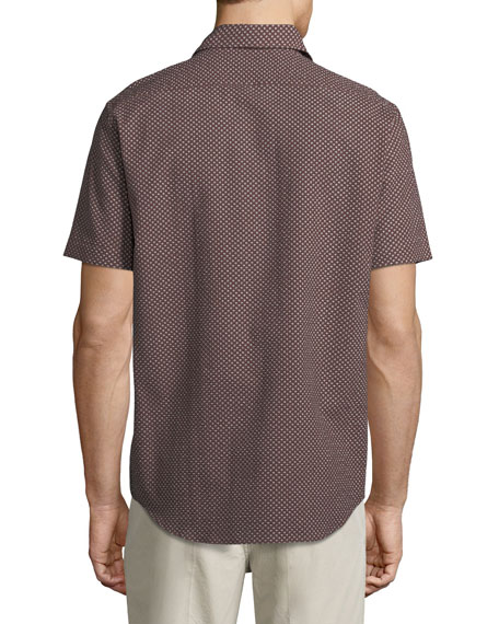 Floral Seersucker Short-Sleeve Sport Shirt