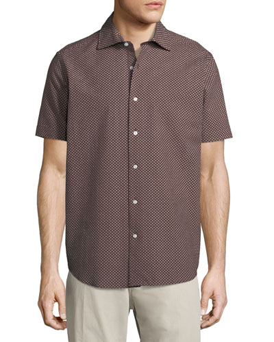 Floral Seersucker Short-Sleeve Sport Shirt