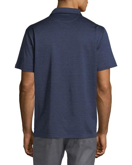 Denim-Knit Cotton Polo Shirt