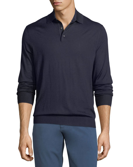Ermenegildo Zegna Cashmere-Blend Polo Long-Sleeve Shirt