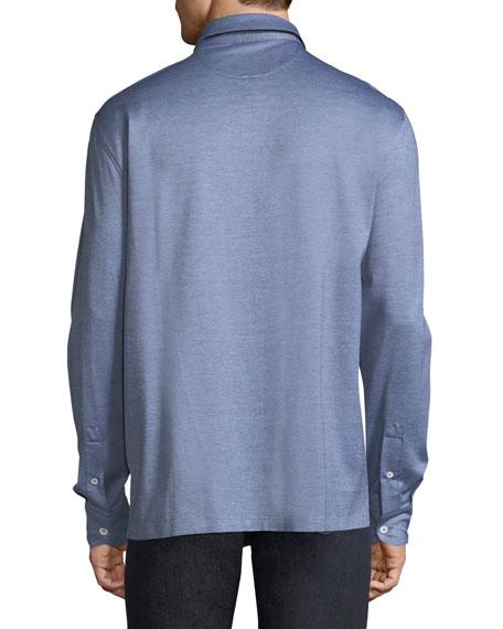 Silk-Cotton Pique Button-Front Shirt