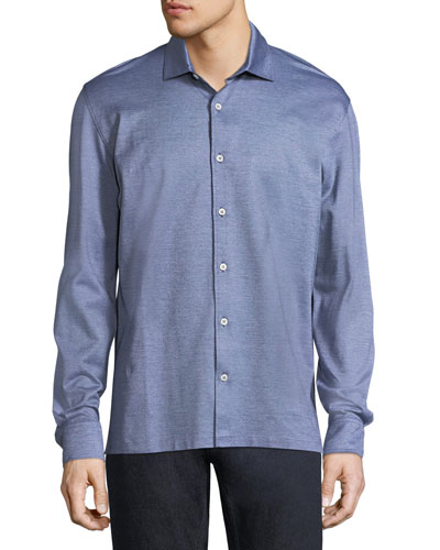 Silk-Cotton Pique Button-Front Shirt