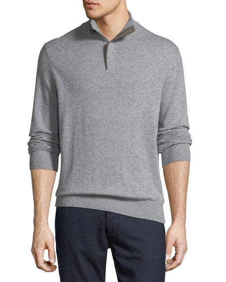 Cashmere Quarter-Zip Pullover Sweater