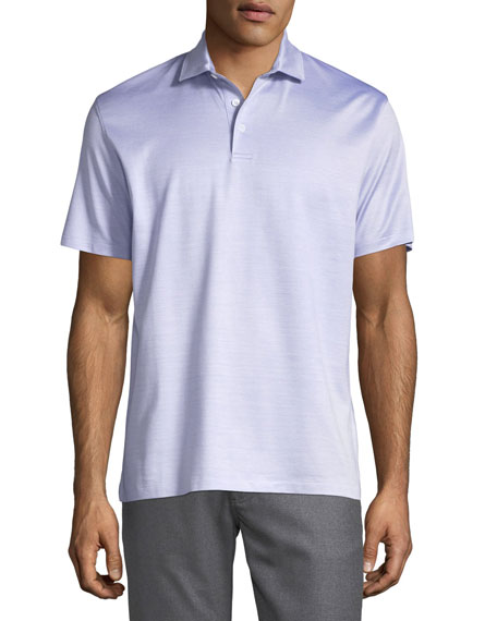 Silk-Blend Polo Shirt, Purple