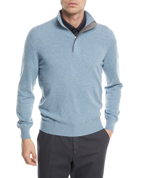 Ermenegildo Zegna Cashmere Quarter-Zip Sweater with Leather Trim
