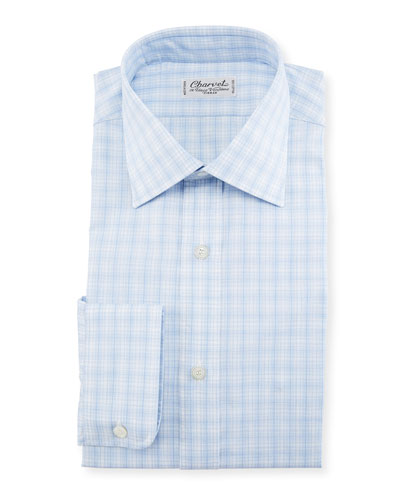 Woven Plaid Dress Shirt  Blue