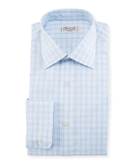 Charvet Woven Plaid Dress Shirt, Blue