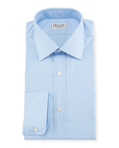 Charvet Small Dot Dress Shirt, Blue