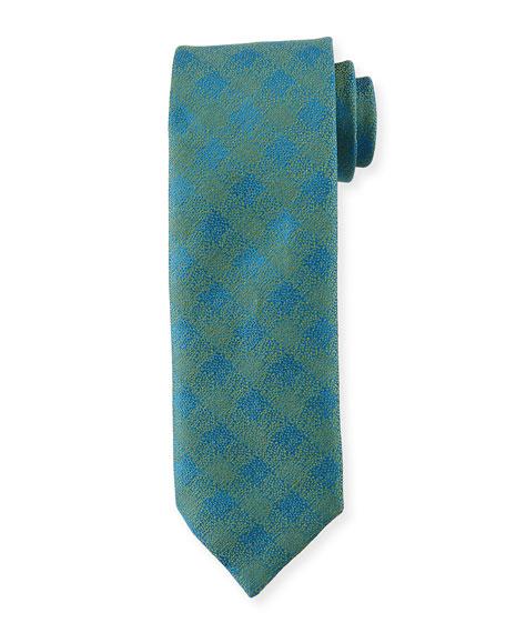 Charvet Melange Tattersall Silk-Linen Tie