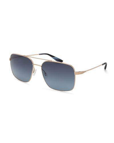 Volair Square Metal Sunglasses, Brown