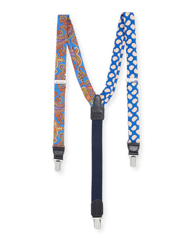 Bretelle Paisley Silk Suspenders, Blue